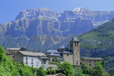 torla village perched on hilltop beneath