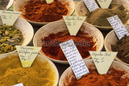 spices for sale on market in