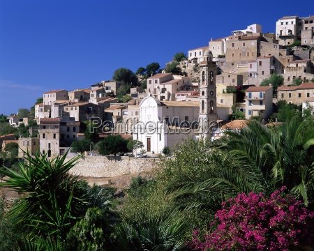 view of church and village on