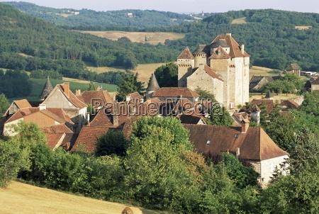 castle and village curemonte correze limousin