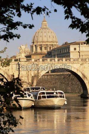 pleasure boats on the river tiber