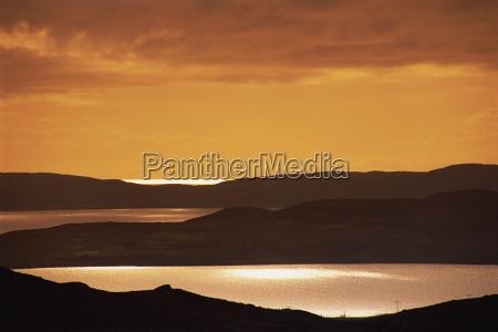 tranquil scene of sunset over gruinard