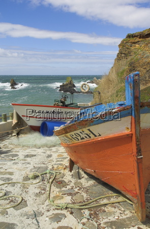 traditional portuguese fishing boats in a