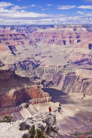 lone hiker near yavapai point overlook