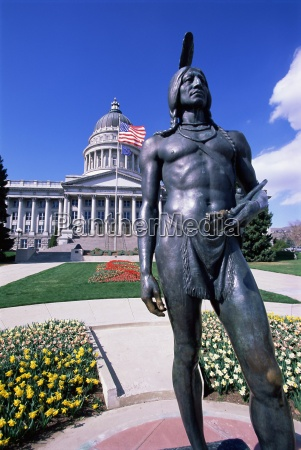 statue of native american in front