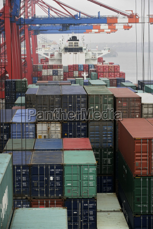 container ship at container terminal port