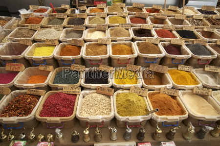 spice stall in the market in