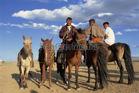 portrait of nomad men and their