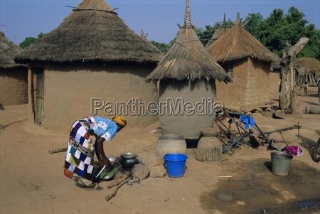 mud village huts mandi region mali