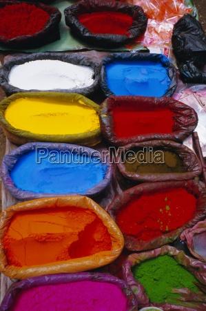 brightly coloured powder for offerings kathmandu