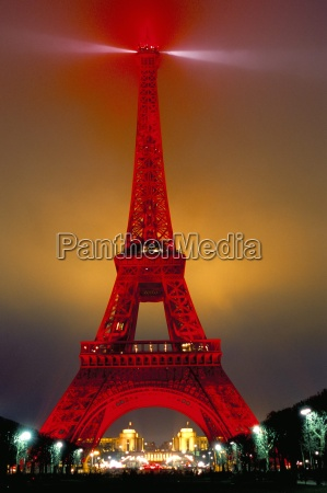 eiffel tower decorated for chinese new