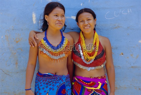 portrait of two embera indian girls