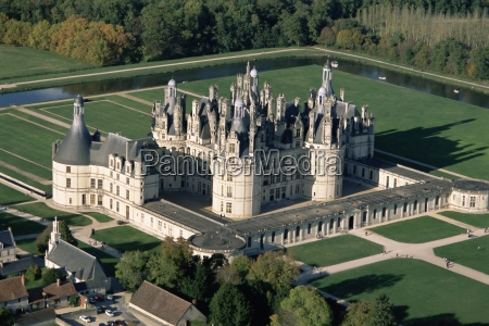 aerial view of the chateau of