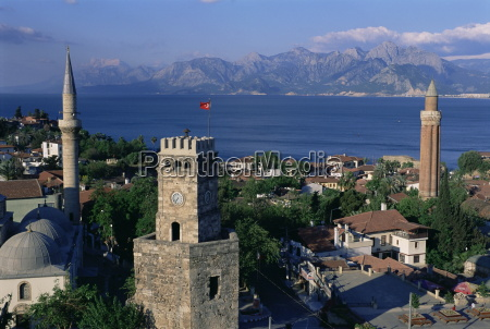 elevated view of town antalya lycia