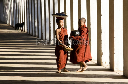 novice buddhist monks collecting alms standing