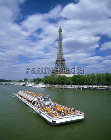 tourists on bateau mouche on the