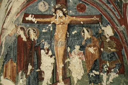 crucifixion christian frescoes in sandal church