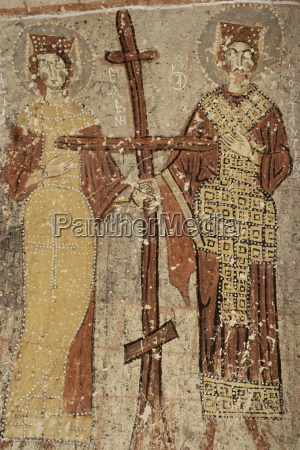close up of wall paintings frescoes