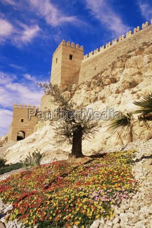 alcazaba towers and walls almeria andalucia