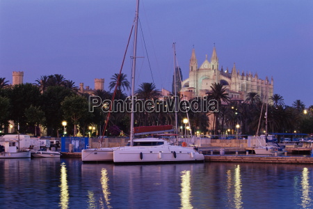 palma cathedral from the harbour at