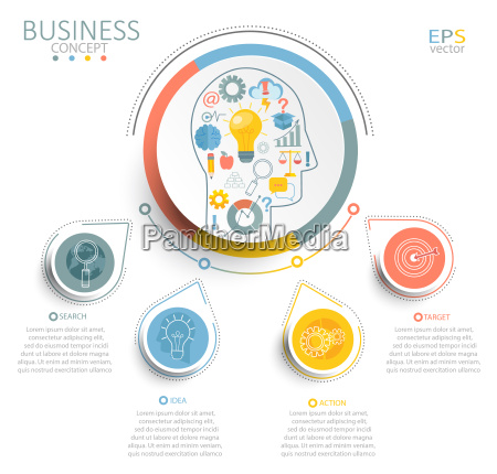 template infographic with 3d circles paper