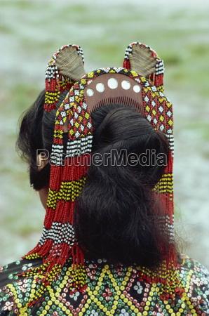 close up of head dress of