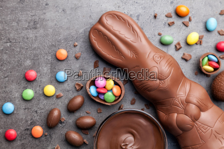 chocolate easter bunny eggs and sweets