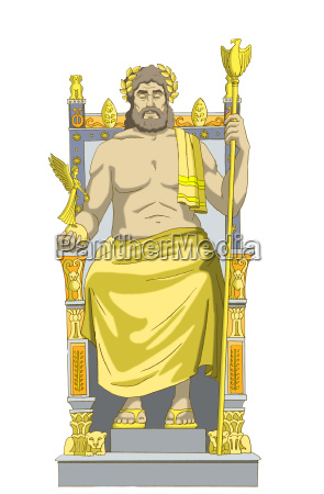 statue of zeus isolated on white