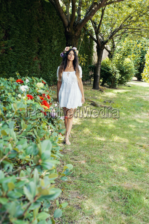 girl in the garden with a