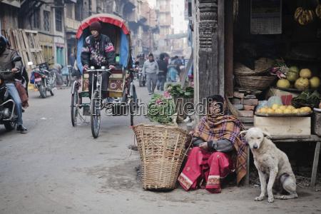 fruit seller on kathmandu street kathmandu