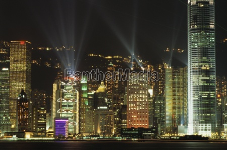 hong kong island central skyline at
