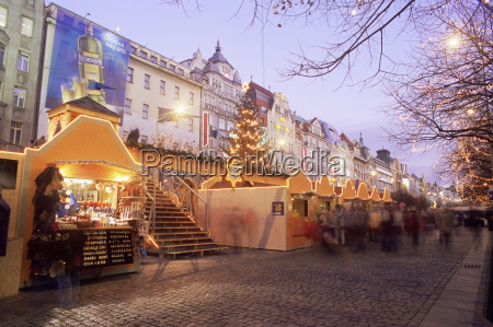 christmas market and christmas tree in