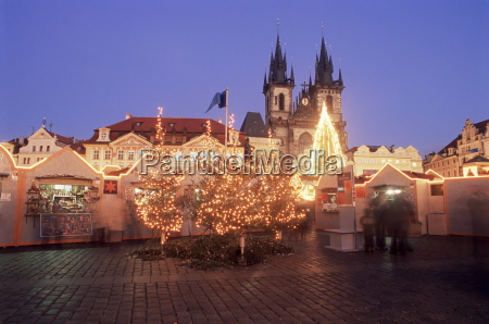 christmas market and tree with gothic