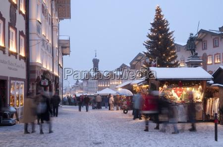 christmas market christmas tree with stalls