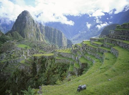 inca terraces and ruins machu picchu