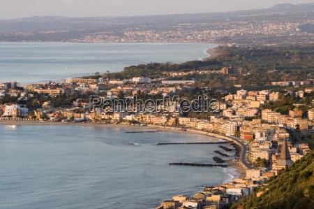 coast and giardini naxos in morning
