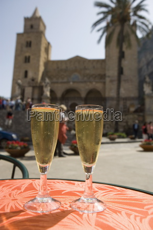 prosecco wine on cafe table cathedral
