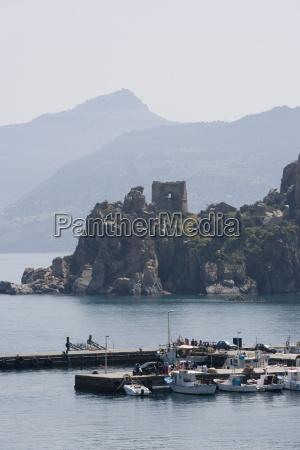 harbour cefalu sicily italy mediterranean europe