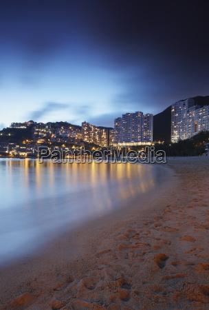 repulse bay beach at dusk hong