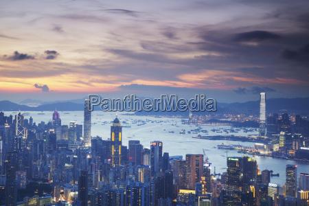 hong kong island and kowloon skylines