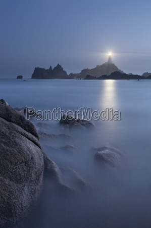 la corbiere lighthouse at dusk jersey