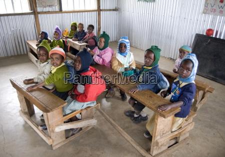 nursery schoolchildren in new classroom ngeteti