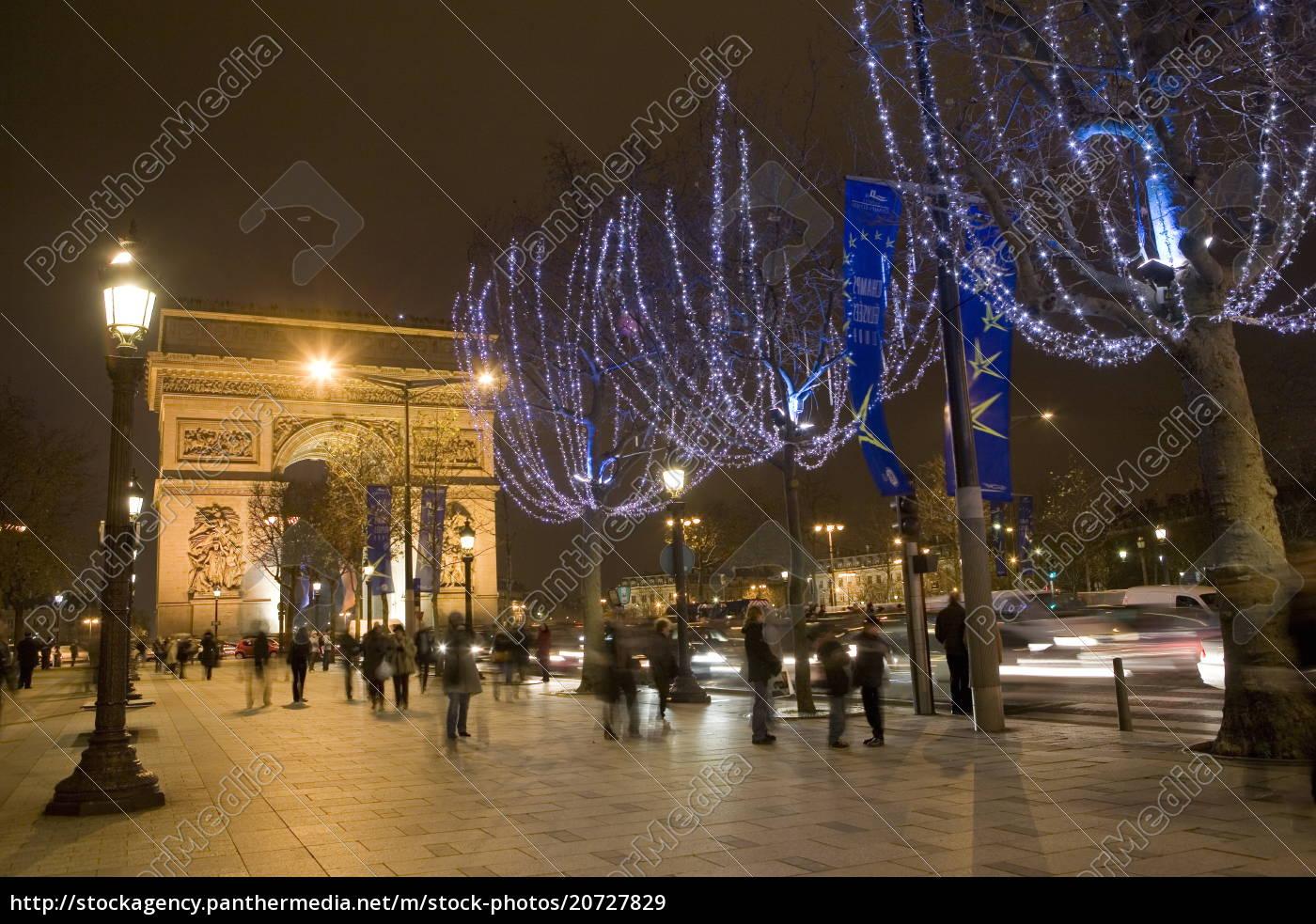 weihnachtsbeleuchtung, und, der, arc, de, triomphe, paris, frankreich, europa - 20727829
