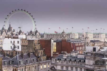 london eye and city skyline london