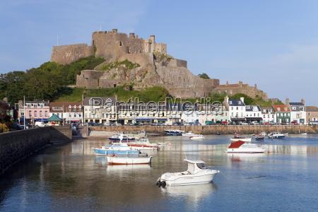 mount orgueil castle overlooking grouville bay