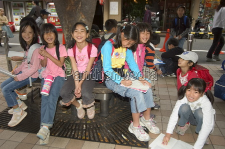 children students on school trip kyoto