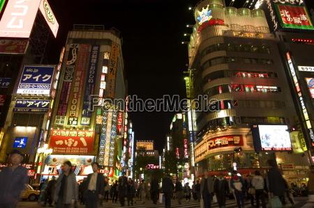 night time city lights shinjuku tokyo