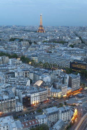 city and eiffel tower viewed over