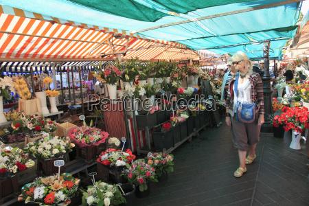 markt, in, cours, saleya, altstadt, nizza, alpes, maritimes, provence, cote, d'azur, französische - 20741491