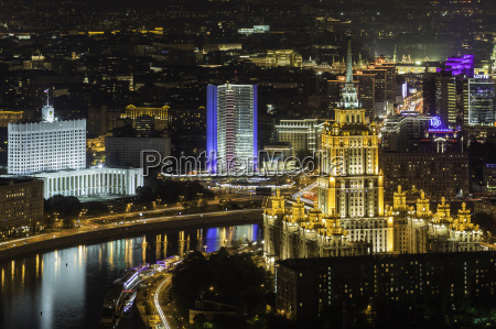 elevated view over the moskva river